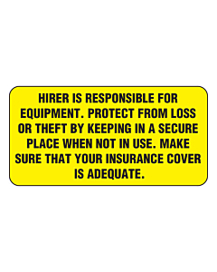 Hirer is Responsible Labels