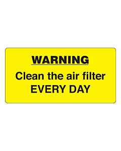 Clean Air Filter Daily Labels