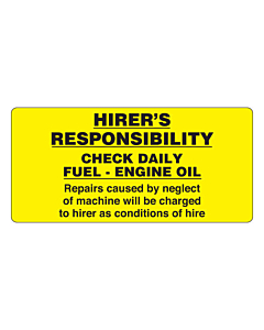 Hirer's Responsibility Labels