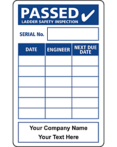 Personalised Ladder Safety Inspection Labels 50x80mm