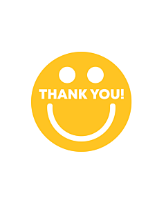 Thank You Smiley Stickers 40mm