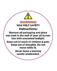 Wax Melt Warning Labels 50mm