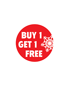 Christmas Buy 1 Get 1 Free Stickers 30mm