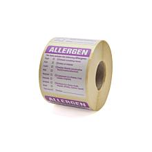 Food Allergen Warning Label 50x50mm Permanent