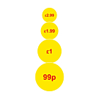 Yellow 20mm Price Labels