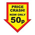 Price Crash 50p Labels 44x47mm Permanent