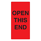 Open This End Labels 75x150mm