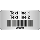 Code 128 Barcode Labels Silver Polyester 40x20mm