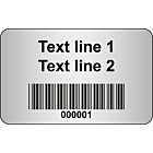 Code 128 Barcode Labels Silver Polyester 40x25mm