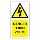11000 Volts Labels 33x63mm
