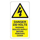 Danger 230 Volts Isolate Supply Labels 33x63mm