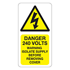 Danger 240 Volts Isolate Supply Labels 33x63mm