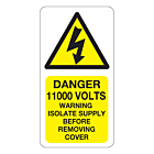 Danger 11000 Volts Isolate Supply Labels 33x63mm