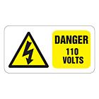 Danger 110 Volts Labels 63x33mm