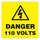 Danger 110 Volts Labels 100x100mm