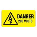 Danger 230 Volts Labels 50x25mm