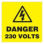 Danger 230 Volts Labels 100x100mm