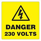 Danger 230 Volts Labels 50x50mm