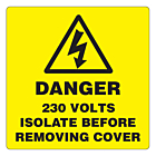 Danger 230 Volts Isolate Supply Labels 50x50mm