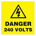 Danger 240 Volts Labels 100x100mm