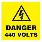 Danger 440 Volts Labels 100x100mm