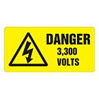 Danger 3300 Volts Labels 100x50mm