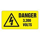 Danger 3300 Volts Labels 50x25mm