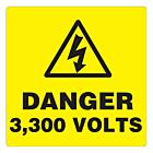 Danger 3300 Volts Labels 100x100mm