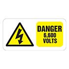 Danger 6600 Volts Labels 100x50mm