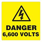 Danger 6600 Volts Labels 100x100mm