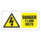 Danger 11000 Volts Labels 50x25mm