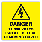 Danger 11000 Volts Isolate Supply Labels 50x50mm