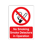 No Smoking Smoke Detectors In Operation Stickers 75x100mm