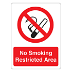 No Smoking Restricted Area Stickers 75x100mm