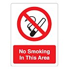 No Smoking In This Area Stickers 75x100mm