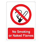 No Smoking Or Naked Flames Stickers 75x100mm