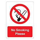 No Smoking Please Stickers 75x100mm
