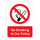 No Smoking Is Our Policy Labels (75x100mm)