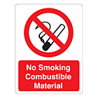 No Smoking Combustible Material Labels (75x100mm)
